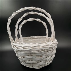 White Round Basket with Handle Set 3pc