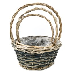 Grey Round Basket with Handle Set 3pc