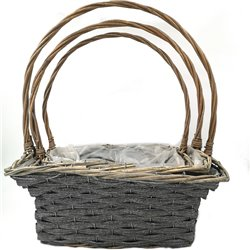 Square Basket with Handle 3pc