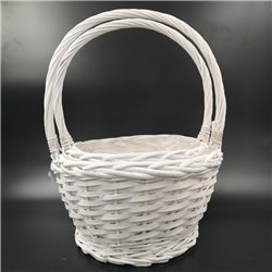 White Deep Basket Round with Handle 2pc
