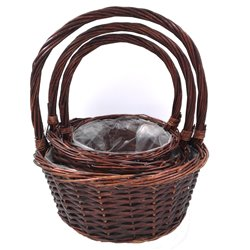 Brown Smooth Basket Set with Handle 3pc