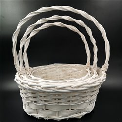 Classic Oval White Basket 3pc