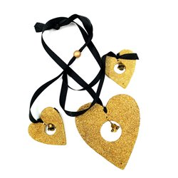 Gold Heart String With Black Ribbon
