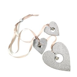 Silver Heart String With Natrual Ribbon
