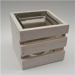 White SQ Wooden Box With Glass
