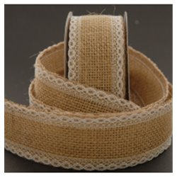 Hessian with Lace Edges 45mm