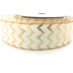Ribbon Gold Chevron 40mm