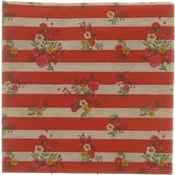 Red Flower Stripe Serviettes 20pcs